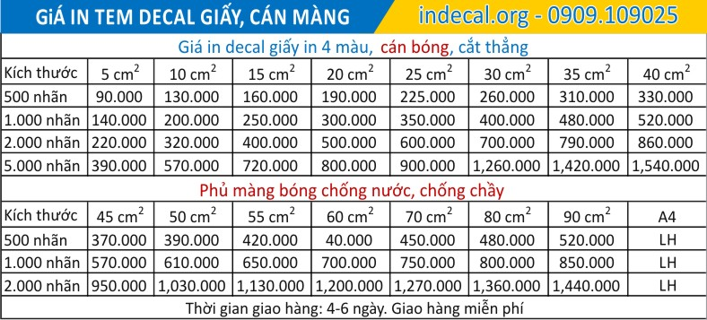 bảng in decal giấy giá rẻ